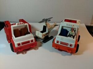 VINTAGE FISHER PRICE TOYS HELICOPTER,  AMBULANCE AND FIRETRUCK1978-1982