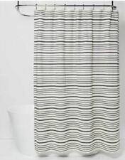 Threshold Striped Black Off White Cotton Shower Curtain