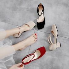 Women Summer Casual Mary Janes Shoes Ankle Strap Square Toe Low Heels Sandals