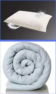DUVET QUILT WITH A PAIR OF DUCK FEATHER PILLOWS. TOG: 4.5, 10.5, 13.5 AND 15