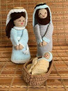 Handmade Hand Crochet Nativity Scene Set Mary, Joseph, Baby Jesus Manger Blue