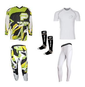 PULSE STORM GREEN & YELLOW MOTOCROSS MX ENDURO BMX MTB KIT + BASE LAYERS & SOCKS