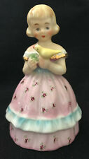 Vintage Figural Bell Blond Girl Holding Yellow Bird-Pink Dress, Made in Japan