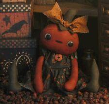 PATTERN Primitive Halloween Pumpkin Doll Whimsical Pumpkin Head Doll FREE SHIP