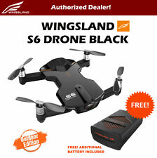 Wingsland S6 V2 Smart Pocket FPV Drone with Extra Battery 4K HD Camera Black