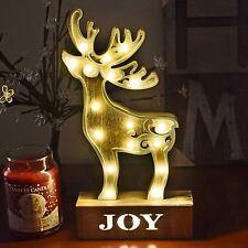 Luz de Madera Reno De Navidad Navidad Cena Blanco Cálido Decoración de Mesa 17LED