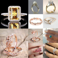 Women 18K Yellow Gold Filled White Sapphire Ring Wedding Bridal Jewelry Sz 5-11