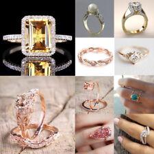 Women 18K Yellow Gold Filled White Sapphire Wedding Bridal Ring Jewelry Sz 5-10