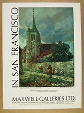 1970 Childe Hassam 'Village Scene' painting Maxwell Galleries vintage print Ad