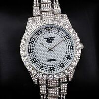 Men Iced Watch Bling Rapper Fully Lab Diamond Metal Band Silver Luxury Hot Club