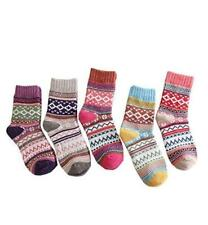 5 Pairs Womens Socks Warm Winter Multi-colored Socks Wool Woven Cashmere
