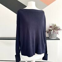 WHISTLES Wool Silk Blend Navy Blue  JUMPER Size S    Smart Casual Warm