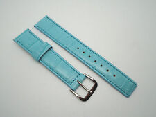 18 mm 18mm Aqua Leather Band Strap with Silver Stainless Steel Buckle