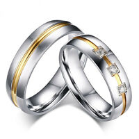Silver His and Hers Ladies Mens Gold Wedding Engagement Couple Ring Size M gift