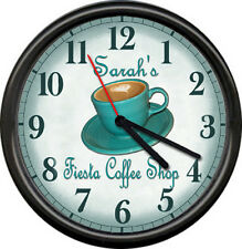 Personalized Java Tea Fiesta Teal Cup Coffee Shop Retro Diner Sign Wall Clock