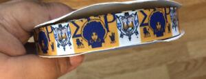 "7/8"" Sigma Gamma Rho grosgrain ribbon BTY  By The Yard Blue And Gold"