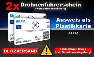 2x EU Drohnenführerschein A1/A3 Karte, Kompetenznachweis, Scheckkartenformat