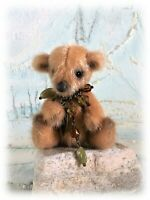"3 1/2"" Faux Fur Miniature Teddy Bear OOAK Little jointed  Boulter Bears"