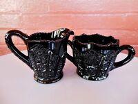 Tiara Indiana Glass Black Paneled Daisy Monarch Creamer Pitcher & Sugar Bowl