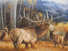 BULL ELK WITH COW ELK NEAR  MOUSE PAD  IMAGE FABRIC TOP RUBBER BACKED