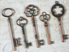 5 Asst Skeleton Keys Copper Large & XL Pendants Vintage Look Key #K14 -5