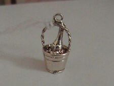 3D BEAUTIFUL SOLID SILVER VINTAGE CHAMPAGNE BUCKET CHARM