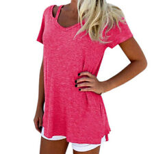 Pink Women Mom Free Summer V-Neck Short Sleeve T-Shirt Casual Tee Tops Blouse XL