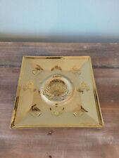 Vtg Georges Briard Square Glass Tray Gold Signed Trinket/ashtray Mcm