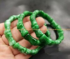 Natural Emerald Green White Jade Jadeite Bamboo Joint Stretchy Bangle Bracelet