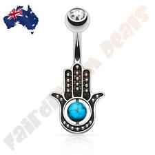 Clear Jewelled Belly Ring with Semi Precious Turquoise Stone Palm Hamsa Hand