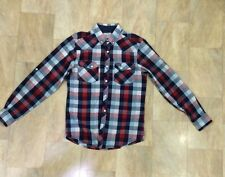 Mens Primark Adjustable Sleeve Red Blue And White Checked Cotton Shirt Size S