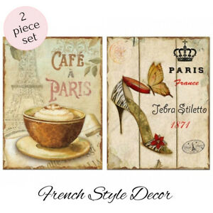 French Provincial Country Vintage Duo Set Wall Tin Sign Metal Plaque New 30x40cm