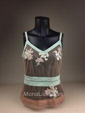New LA PERLA Donna LUCIA Lace Floral Blue Beige Sheer Mesh Top Pajamas Gown S 2