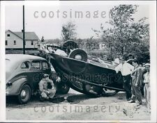 1947 Crowd Views Overturned Vintage Auto Accident South Bend IN Press Photo