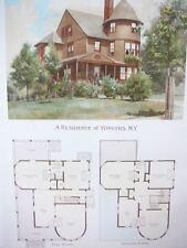 Yonkers, NY house illustration & floorplan - Scientific American 1892