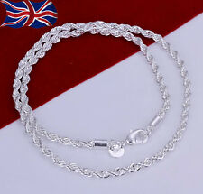 """925 Sterling Silver plated Necklace Twisted Rope Chain Link 20"""" Ladies Gift UK"""