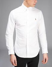 Ralph Lauren Mens Custom Fit Long Sleeve Oxford Shirt  White Pink Blue  S M L XL
