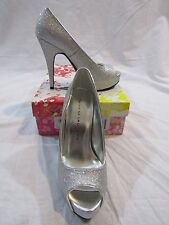 "CHINESE LAUNDRY ""Hot Hot"" Silver Platform Open Toe Stiletto Pumps Size 6.5M  NIB"