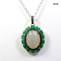 "Emerald Moonstone Pave Diamond 925 Sterling Silver Gemstone Necklace 18"" ODR214"