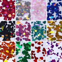 12 Boxes Mix-color Holographics Nail Art Glitter Sequins Iridescent Heart Flakes