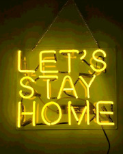 Let's Stay Home Yellow Neon Sign Lamp Light Acrylic Beer Bar With Dimmer