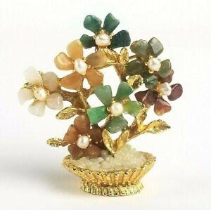 Vintage Swoboda Flower Basket Brooch Gold Pearl Jade Gemstone Pin Figurine