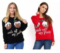 Womens HANDS OFF MY PUDDS Two Pudding Xmas Christmas Jumper Ladies Top Lot