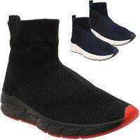 LADIES HIGH ANKLE SOCKS ELASTICATED RUNNING SPORTS GYM JOGGING SNEAKERS SHOES