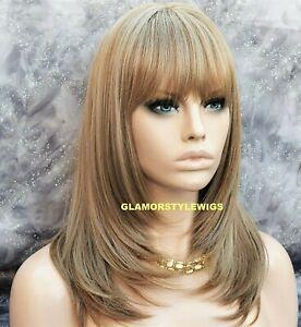 Human Hair Blend Full Wig Straight Layered Bangs Ash Blonde Heat Ok Hair Piece