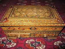 Vintage 1960 s Syrian lined Jewelry Box 2 drawers wood open from the top