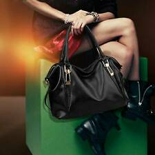 New Ladies Soft PU Black Leather Handbag Tote Shoulder Bag Leisure Daily Bag UK