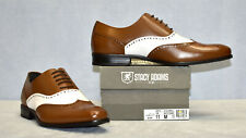 B6 NIB STACY ADAMS Stockwell Cognac/White Leather Wingtip Oxfords Shoes Size 11
