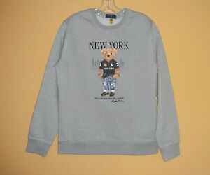 Polo Bear Ralph Lauren NEW YORK LONDON PARIS SWEASHIRT XL youth= men M = women L
