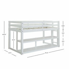Twin Size Wood Kids Teens Loft Bed W/ Spacious Storage Shelves & Ladder 3 Colors White
